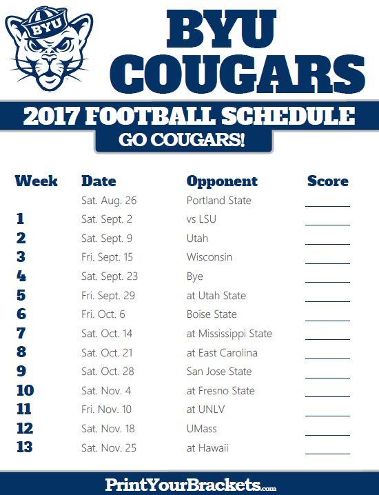 Printable BYU Cougars Football Schedule Oregon Ducks