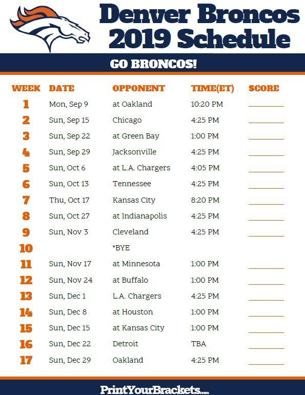 Printable Denver Broncos Schedule 2019 Season Denver