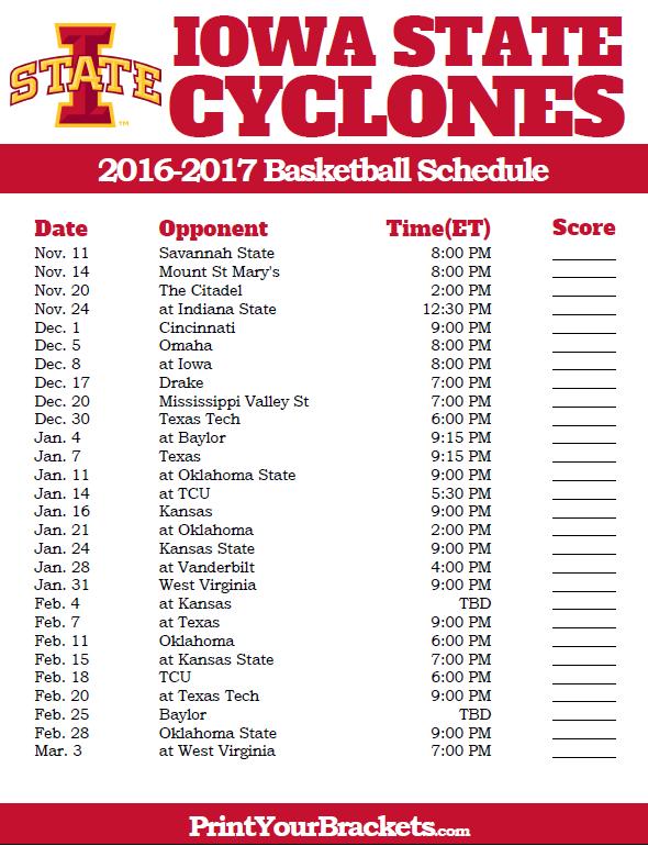 Printable Iowa State Cyclones 2016 2017 College Basketball