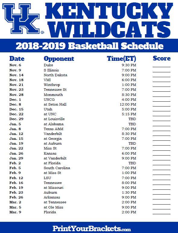 Printable Kentucky Wildcats Basketball Schedule Wildcats