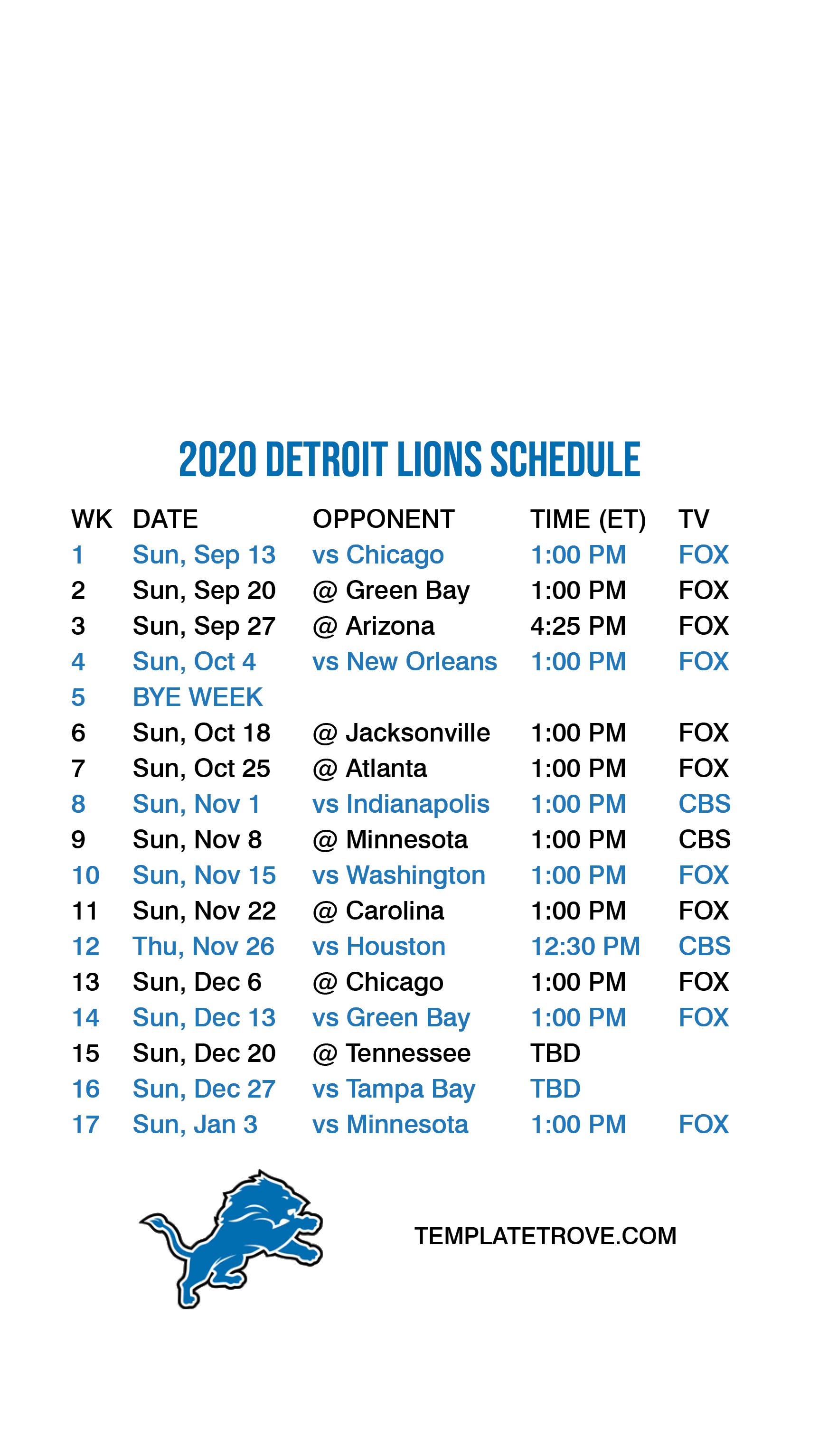 Printable Lions Schedule 2021 PrintableSchedule