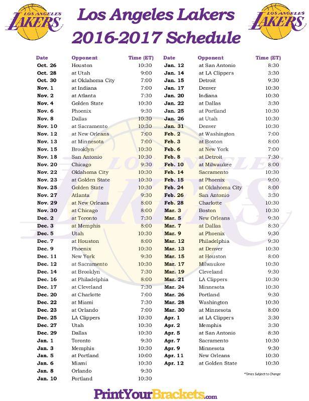 Printable Los Angeles Lakers Basketball Schedule 2016