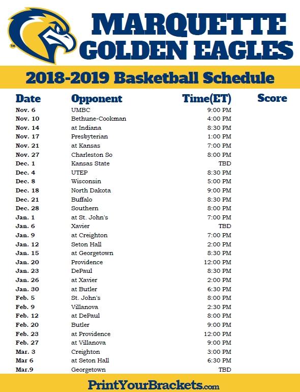Printable Marquette Golden Eagles 2018 2019 Basketball