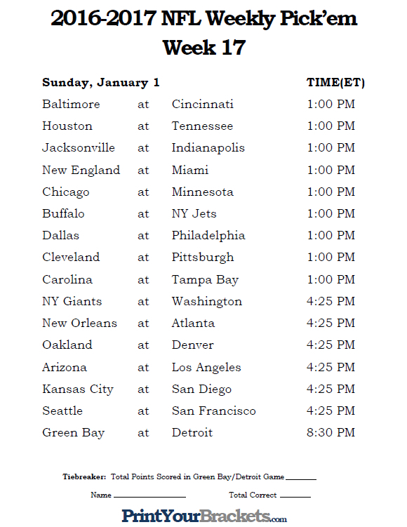 Printable NFL Week 17 Schedule Pick Em Office Pool 2016