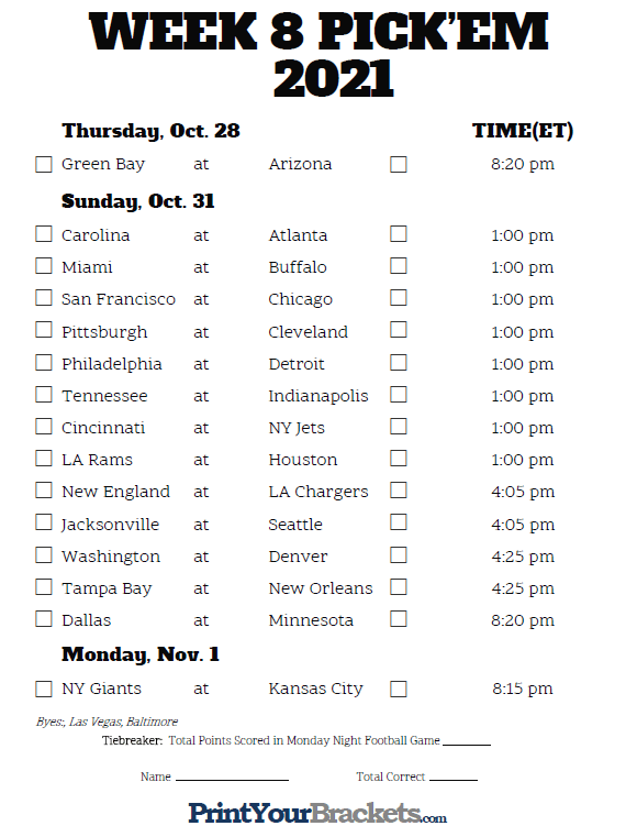 Printable NFL Week 8 Schedule Pick Em Pool 2021