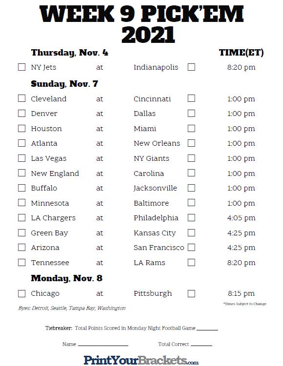 Printable NFL Week 9 Schedule Pick Em Pool 2020