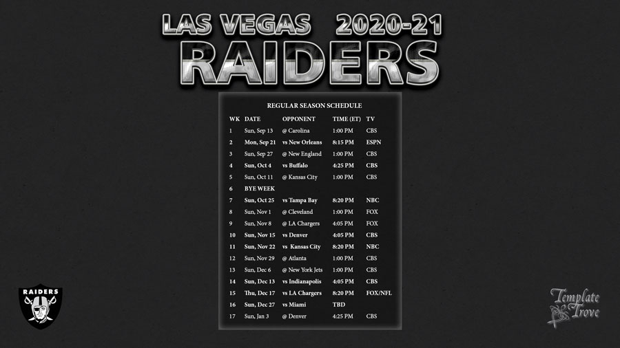Printable Oakland Raiders Schedule 2021