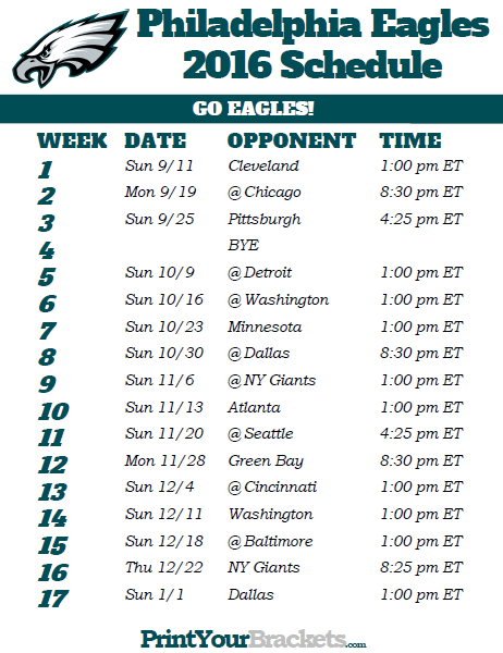 Printable Philadelphia Eagles Football Schedule Tampa