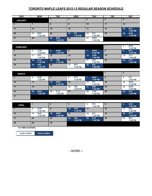 Printable Regular Schedule Toronto Maple Leafs