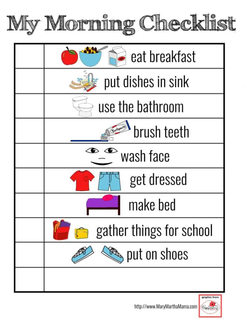 Printable Visual Schedule for Smoother Mornings Mary