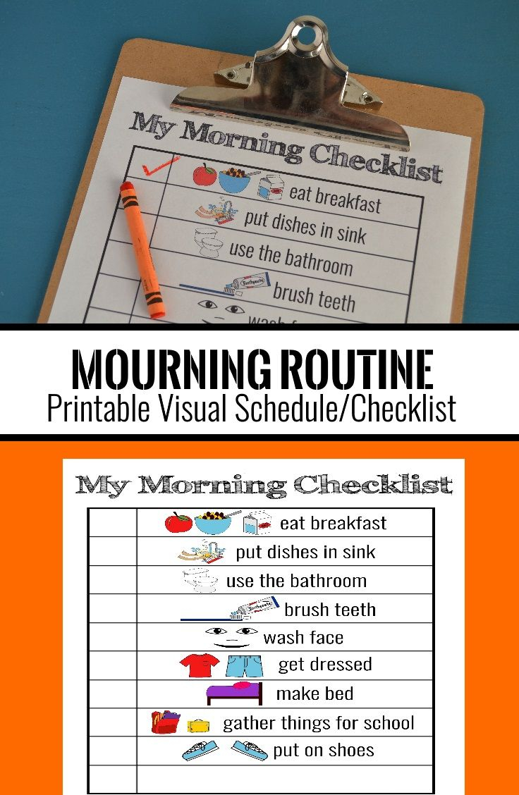 Printable Visual Schedule Morning Routine Checklist For