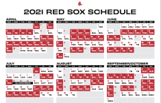 Red Sox Printable 2021 Schedule