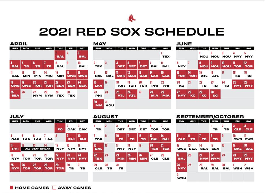 Red Sox 2021 Schedule Calendar Calendar 2021