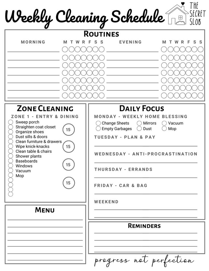 Resources Fly Lady Weekly Clean Schedule By Week Fly