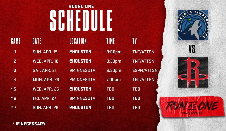 Rockets First Round Schedule Houston Rockets