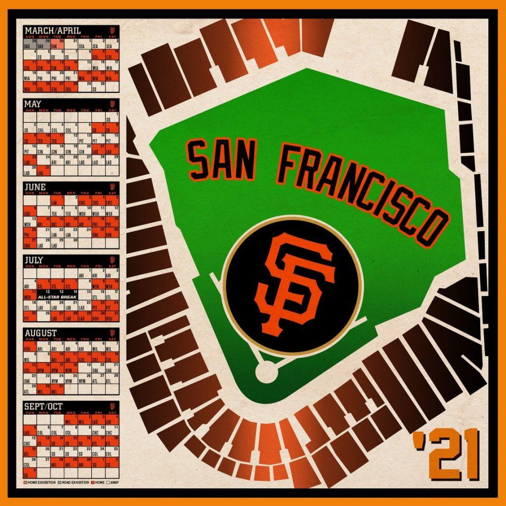 San Francisco Giants 2021 Schedule Print Etsy