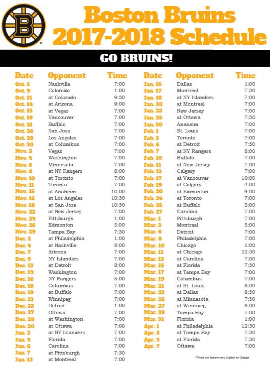 Schedule BruinsLife Boston Bruins Fan Site Blog