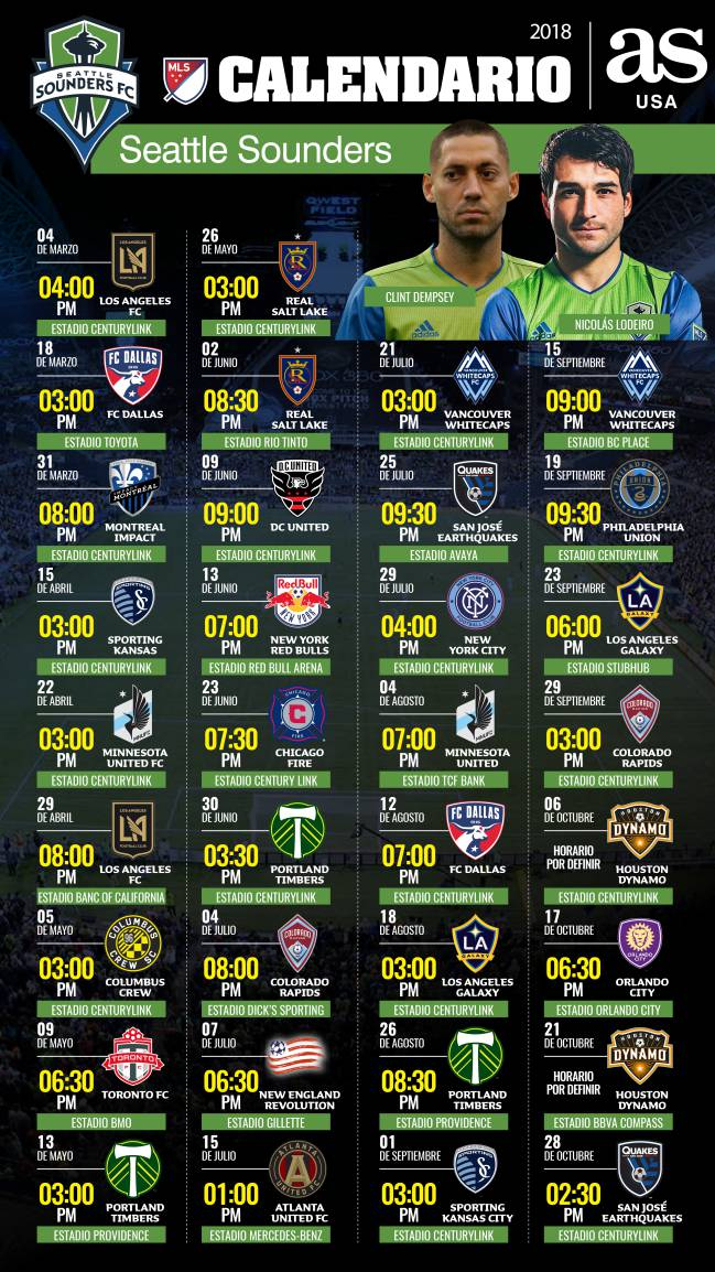 Sounders Schedule To Seattle