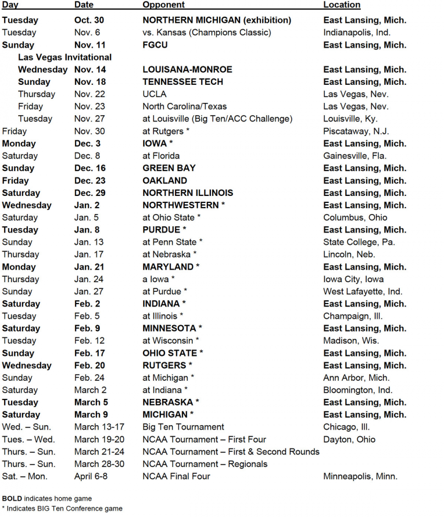 Spartans Release 2018 19 Basketball Schedule The Only Colors