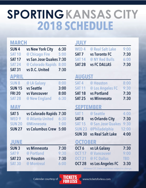 Sporting KC 2018 Schedule Announced Tickets For Less