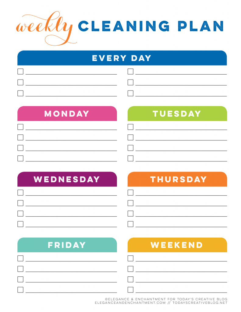 TCB Printable Cleaning Planner Blank Weekly Cleaning