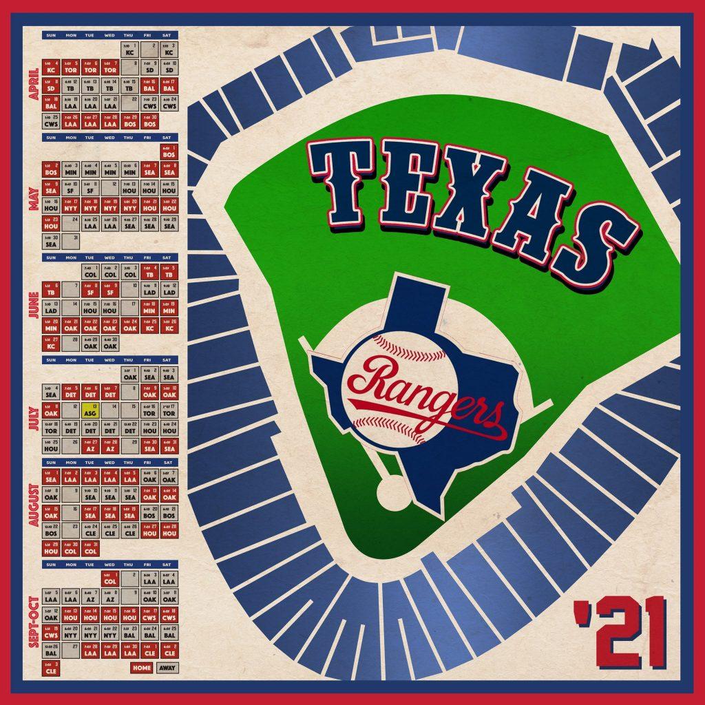 Texas Rangers 2021 Schedule Print Etsy