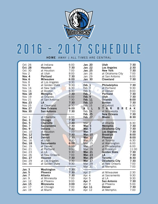 The 2016 17 Mavericks Schedule Printable And As Wallpaper