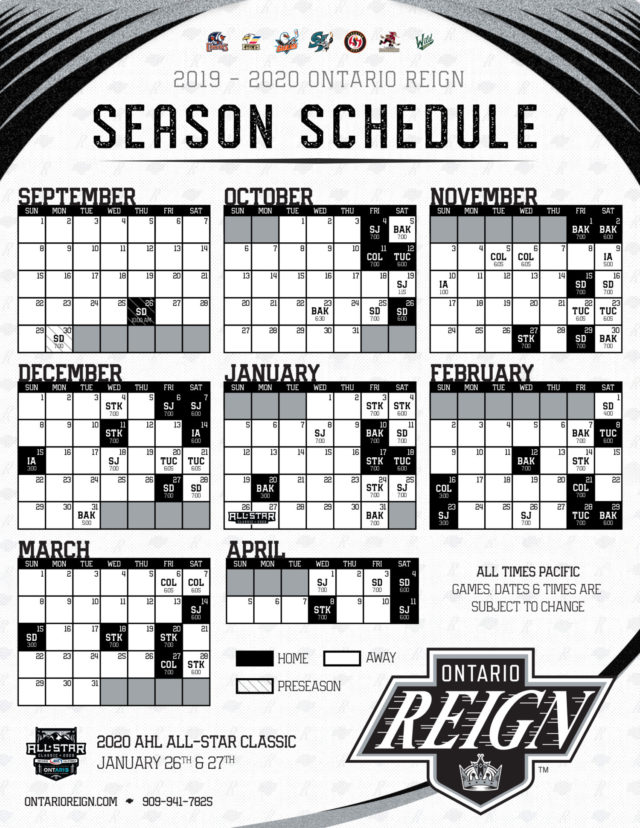 The 2019 20 Ontario Reign Schedule Facts Stats Tidbits