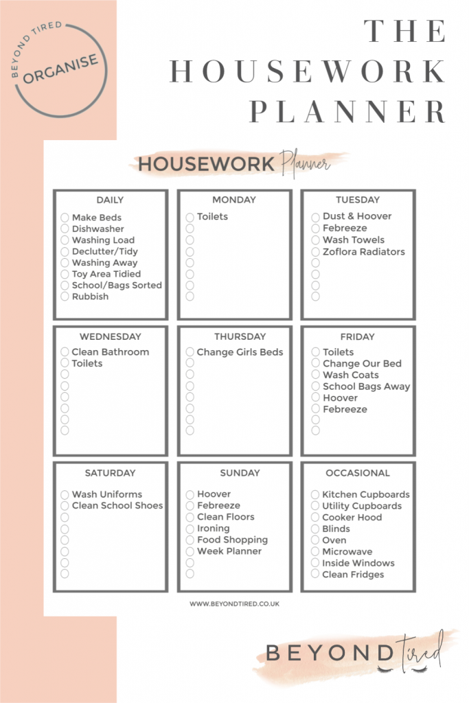 The Housework Planner Printable Template Beyond Tired