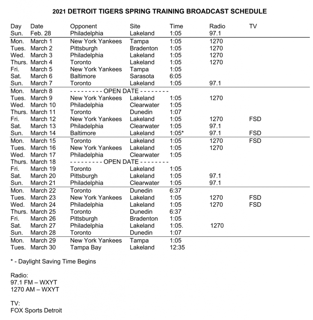Tigers Spring Training 2021 Full Schedule New Changes