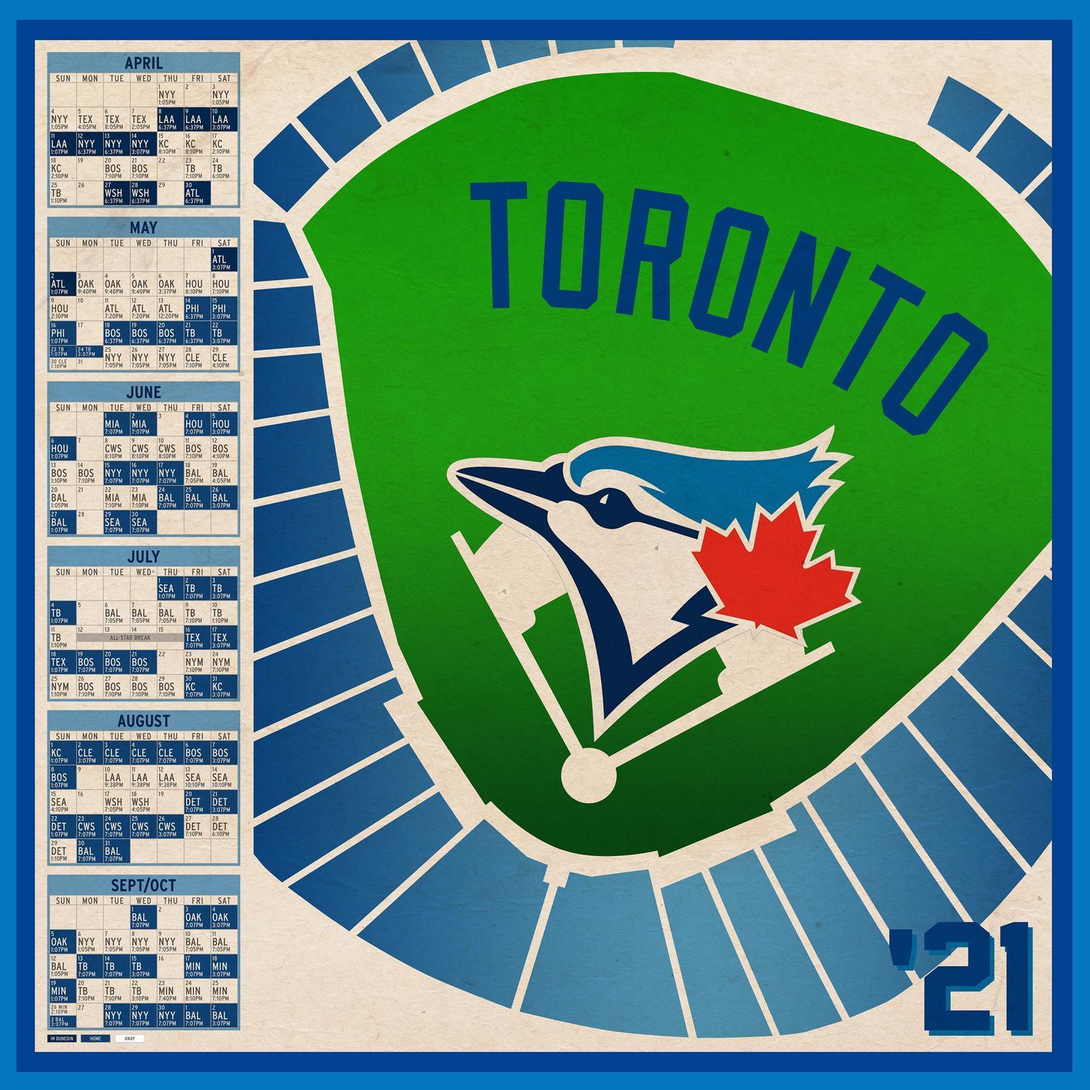 Toronto Blue Jays 2021 Schedule Print Etsy