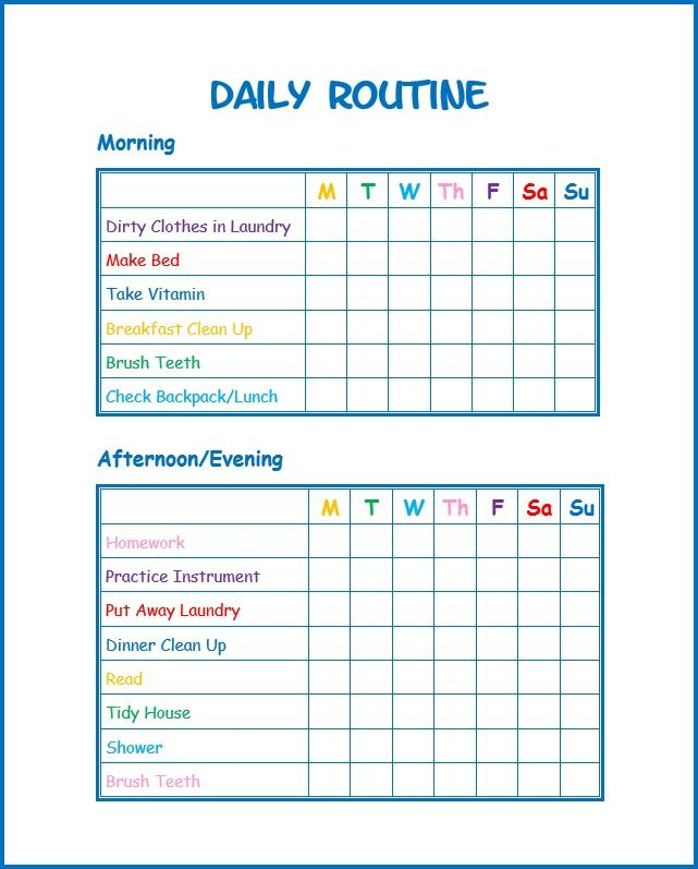 Use This Free Kids Daily Routine Printable To Develop Good