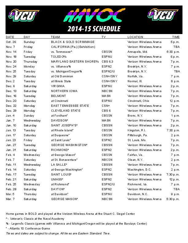 VCU 2014 15 Men s Basketball Schedule Richmond