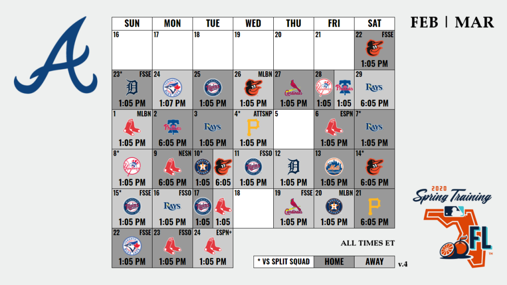 Version 4 Of The Braves Spring Training Schedule 15