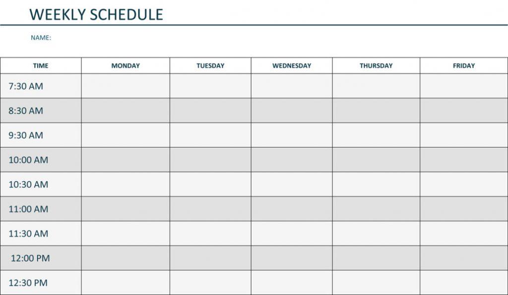 Weekly Schedule Template Pdf Shatterlion Info
