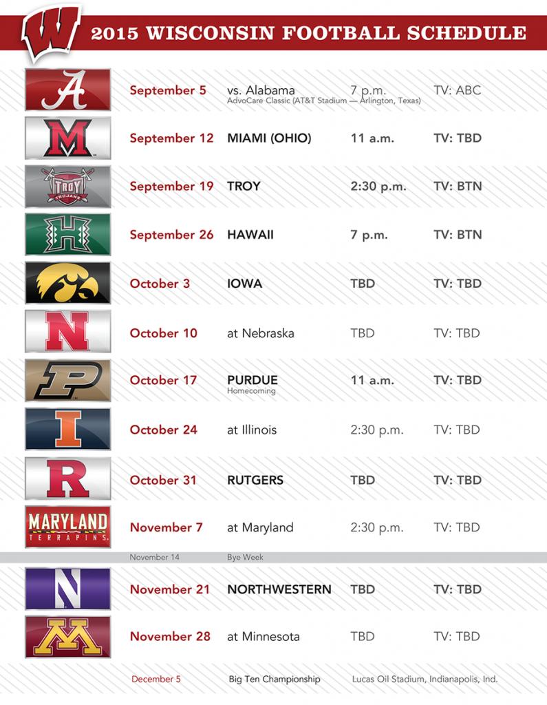 Wisconsin Badgers Football Schedule 2019 Printable
