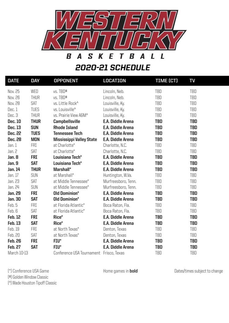 WKU Basketball Full 2020 2021 Schedule Released By