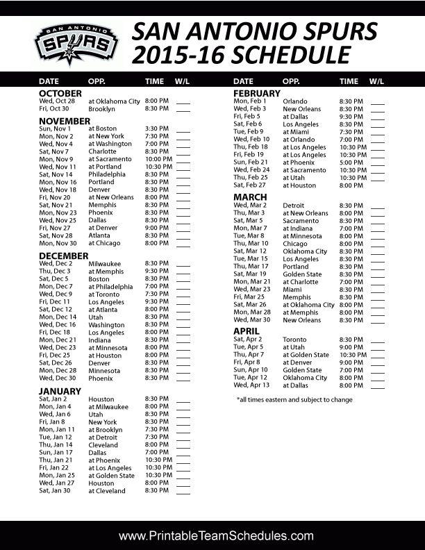 2015 2015 Schedule San Antonio Spurs Basketball Utah