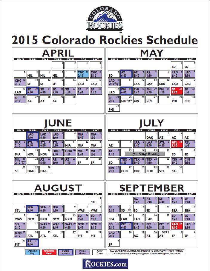 2015 Rockies Schedule Released Colorado Opens Season In