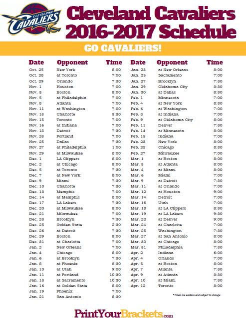 2016 2017 Cleveland Cavaliers Schedule Basketball
