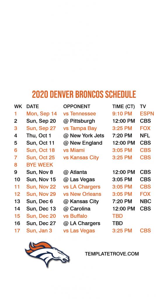 2020 2021 Denver Broncos Lock Screen Schedule For IPhone 6