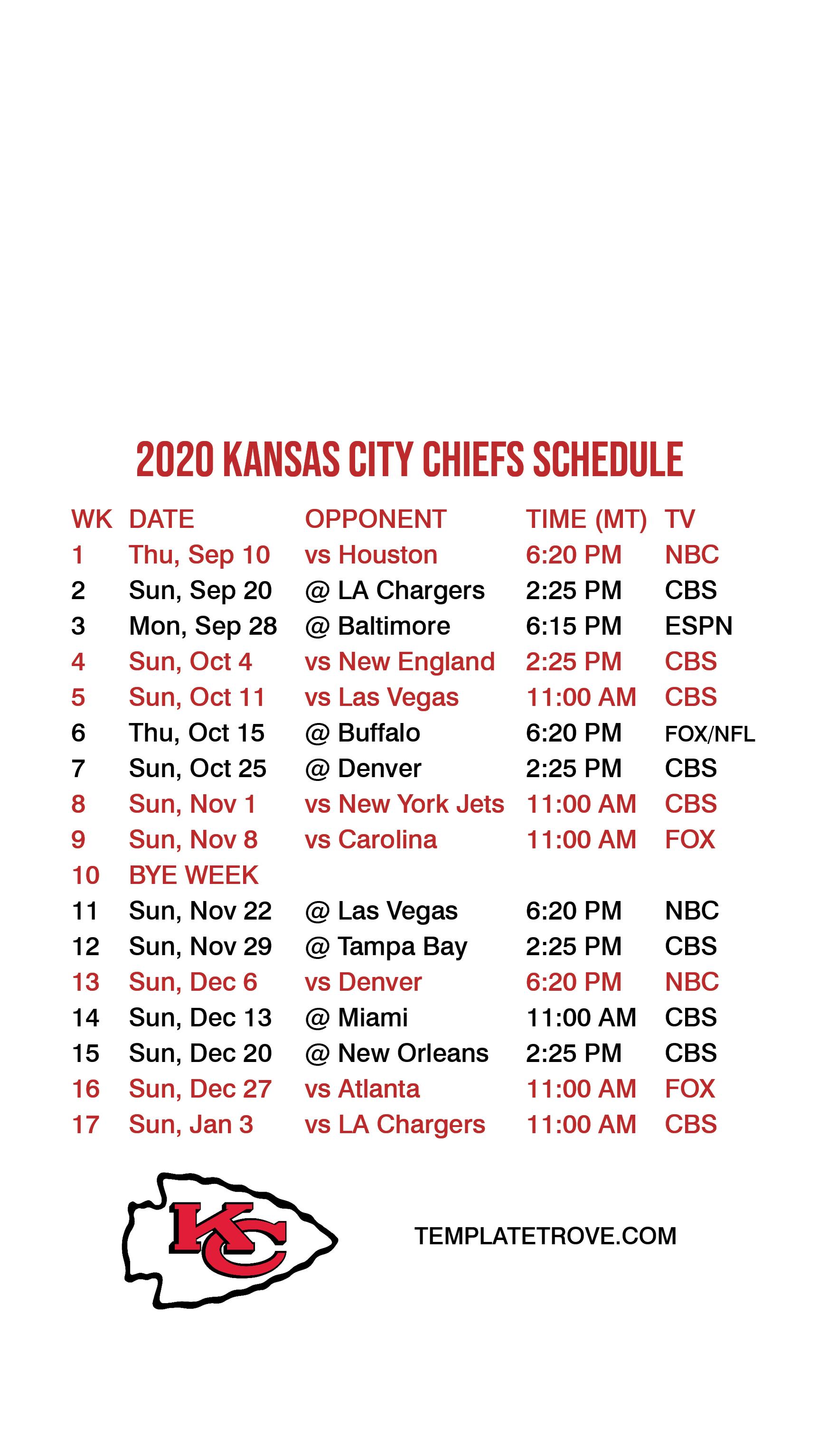 2020 2021 Kansas City Chiefs Lock Screen Schedule For