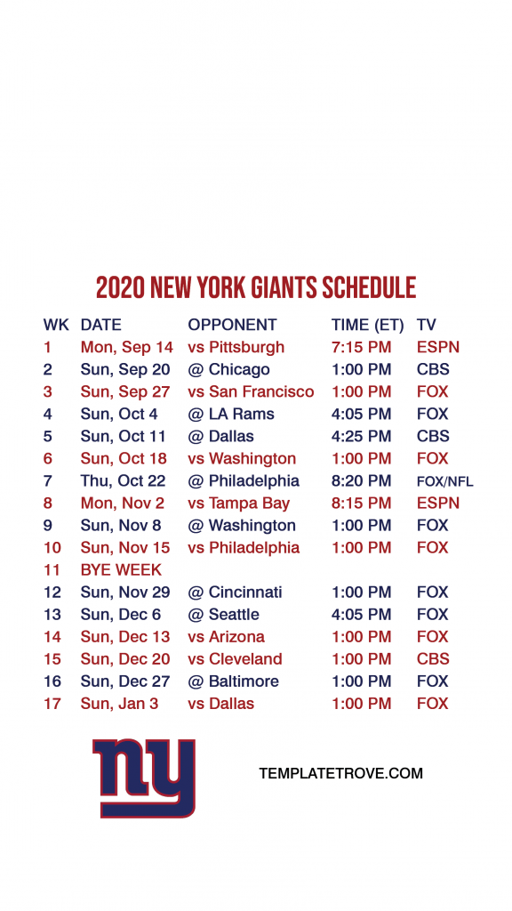 2020 2021 New York Giants Lock Screen Schedule For IPhone