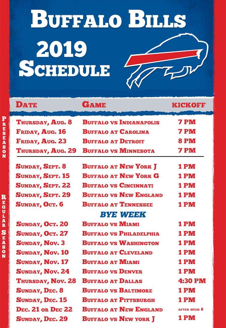 2020 Buffalo Bills Season Printable Example Calendar