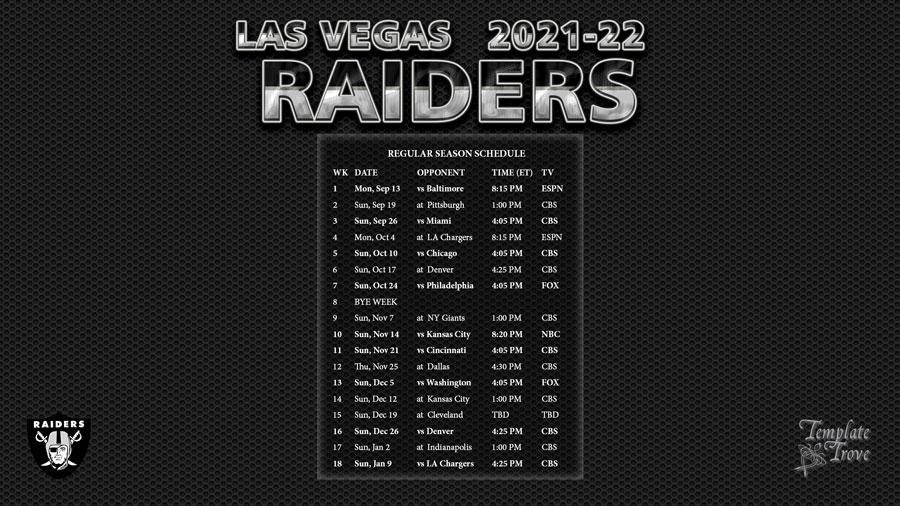 2021 2022 Las Vegas Raiders Wallpaper Schedule