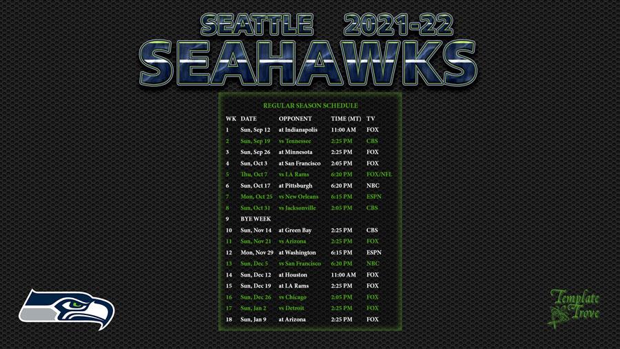 2021 2022 Seattle Seahawks Wallpaper Schedule