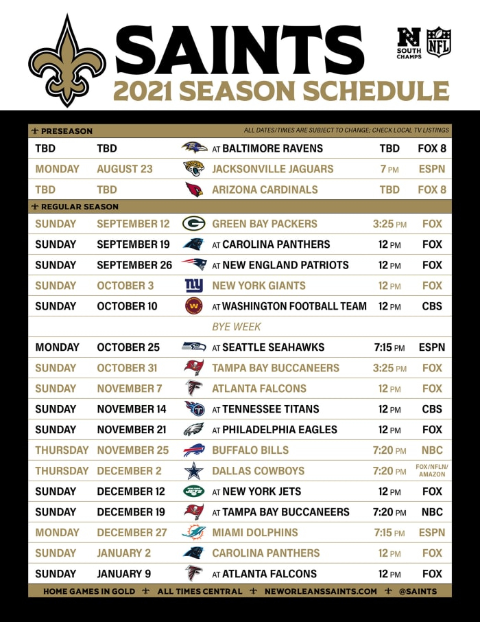 2021 New Orleans Saints Schedule Revealed Sports