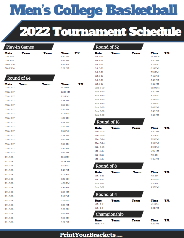 2022 NCAA March Madness Tournament TV Schedule Printable