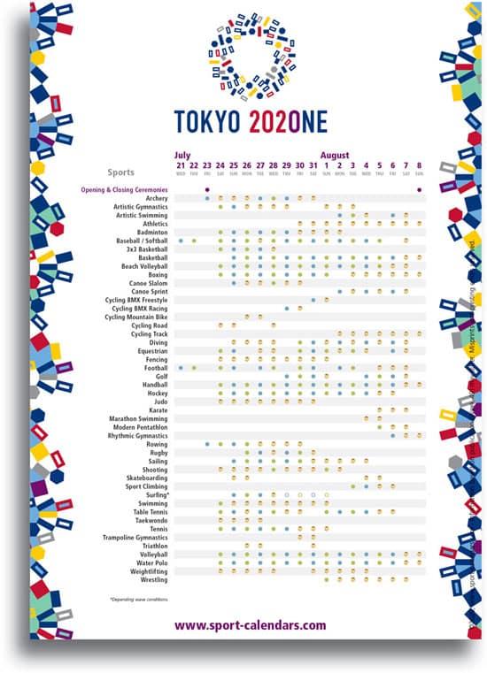 A4 Tokyo Olympic Games ENGLISH Sport Calendars