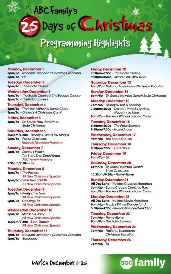 ABC Family s 25 Days Of Christmas Full Schedule